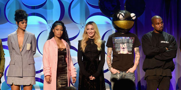 NEW YORK, NY - MARCH 30:  (L-R) Rihanna, Nicki Minaj, Madonna, Deadmau5, and Kanye West onstage at the Tidal launch event #TIDALforALL at Skylight at Moynihan Station on March 30, 2015 in New York City.  (Photo by Jamie McCarthy/Getty Images for Roc Nation)