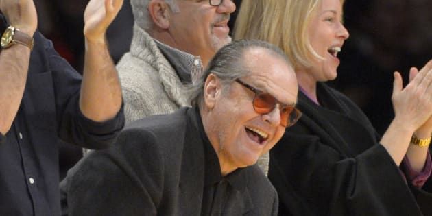 Actor Jack Nicholson watches the Los Angeles Lakers play the Denver Nuggets during the second half of their NBA basketball game, Sunday, Jan. 6, 2013, in Los Angeles. The Nuggets won 112-105. (AP Photo/Mark J. Terrill)