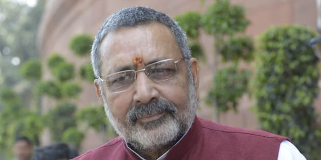 NEW DELHI,INDIA MARCH 16: Giriraj Singh Minister of State for Micro, Small and Medium Enterprises (MSME)  at Parliament during Parliament Budget Session.(Photo  by Yasbant Negi/India Today Group/Getty Images)