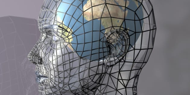 A globe within a transparent head, perhaps representing the potential of the mind, intellect or psyche. 3d abstract render.