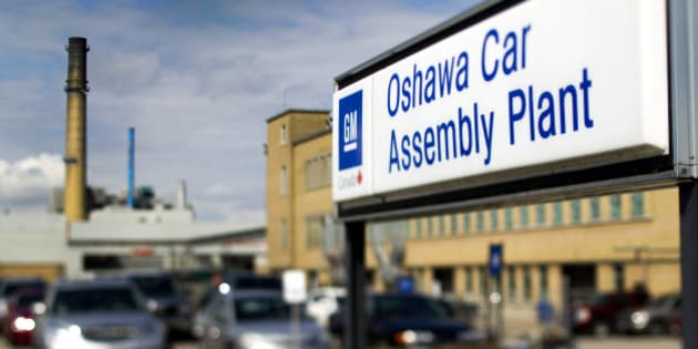 The General Motors Co. (GM) assembly plant stands in this photo taken with a tilt-shift lens in Oshawa, Ontario, Canada, on Monday, Aug. 8, 2011. General Motors of Canada Ltd. will pump $2.535-billion into a trust fund that will finance health-care costs for its retirees, eliminating a key legacy cost that the auto maker said hobbled it in the fiercely competitive North American auto market, according to The Globe and Mail. Photographer: Brent Lewin/Bloomberg via Getty Images