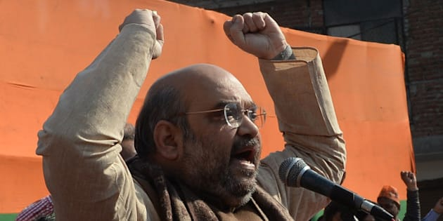 NEW DELHI, INDIA  FEBRUARY 5: BJP president Amit Shah during the rally in New Delhi.(Photo by Pankaj Nangia/India Today Group/Getty Images)