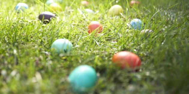 Easter eggs on lawn, close-up
