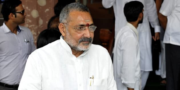 NEW DELHI, INDIA - JULY 14: BJP MP Giriraj Singh leaves Parliament after attending the budget session on July 14, 2014 in New Delhi, India. A bill to remove legal hurdles in the appointment of former TRAI chief Nripendra Misra as principal secretary to the Prime Minister was passed in Lok Sabha.(Photo by Sonu Mehta/Hindustan Times via Getty Images)