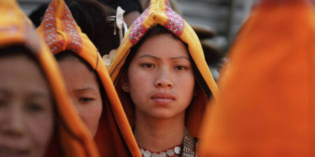 A tribal girl looks on during Arunachal Pradesh statehood day celebrations in Itanagar, Arunachal Pradesh, India, Sunday, Feb. 20, 2011. Northeastern Indian state Arunachal Pradesh which China claims as its territory is home to the foothills of the Himalayas. (AP Photo/Anupam Nath)