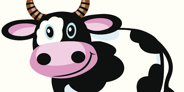 cartoon cow for babies and little kids.Image isolated on white background