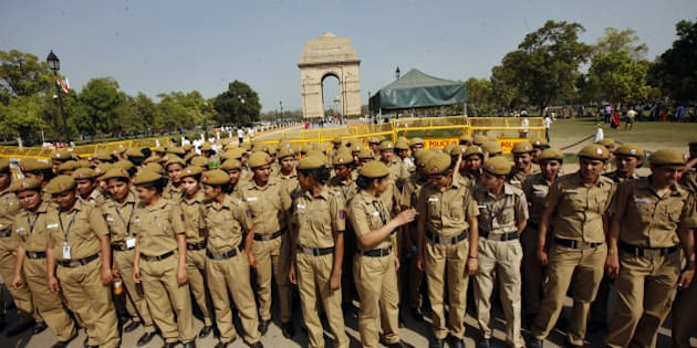 NEW DELHI, INDIA - MARCH 24: Delhi policewomen deputed in front of India Gate during the protest march by advocates against deferment of tabling in Parliament the amended Bill regarding enhancement of pecuniary jurisdiction of trial courts on March 14, 2015 in New Delhi, India. Advocates want the Centre to table afresh the bill for pecuniary jurisdiction of Rs two crore for Delhi district courts and be passed in the resumed budget session of Parliament after the recess. (Photo by Arun Sharma/Hindustan Times via Getty Images)