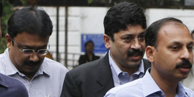 NEW DELHI, INDIA - MARCH 2: Former Telecom Minister Dayanidhi Maran and his brother Kalanithi Maran (not in pic) appeared before a special 2G court hearing in the case relating to the Aircel-Maxis deal, at Patiala Court on March 2, 2015 in New Delhi, India. DMK leaders Dayanidhi Maran and Kalanithi appeared before a court hearing the case relating to the Aircel-Maxis deal and moved their bail application. The CBI has alleged that Dayanidhi Maran used his influence to help Malaysian businessmen T Ananda Krishnan buy Aircel by coercing its owner Sivasankaran to part with his stake. (Photo by Arun Sharma/Hindustan Times via Getty Images)
