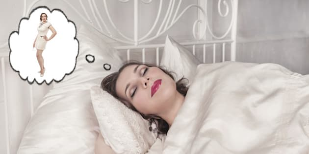 Beautiful plus size woman sleeping and dreaming about slim herself isolated