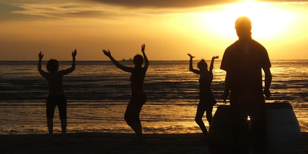 ...met up with the others and joined the drummer to dance the sunset away. Then I continued on home. The End.