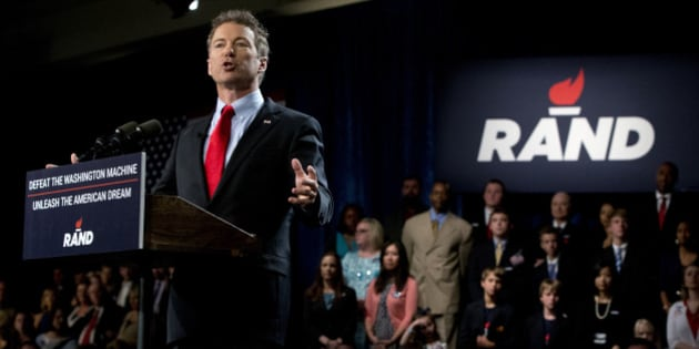 """Sen. Rand Paul, R-Ky. announces the start of his presidential campaign, Tuesday, April 7, 2015, at the Galt House Hotel in Louisville, Ky. Paul launched his 2016 presidential campaign Tuesday with a combative message against both Washington and his fellow Republicans, declaring that """"we have come to take our country back."""" (AP Photo/Carolyn Kaster)"""