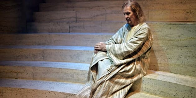 US actor and singer Ted Neeley takes part in a rehearsal of the show 'Jesus Christ Superstar' on April 11, 2014 in Rome. The musical will be shown from April 18, 2014 till June 1st, 2014 at the Sistina theatre in Rome.   AFP PHOTO / GABRIEL BOUYS        (Photo credit should read GABRIEL BOUYS/AFP/Getty Images)