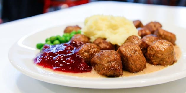 A picture taken on November 2, 2014 in Stockholm shows a traditional Swedish dish, Swedish meatballs with mashed potatoes, peas, lingonberry jam and cream sauce. AFP PHOTO/JONATHAN NACKSTRAND        (Photo credit should read JONATHAN NACKSTRAND/AFP/Getty Images)
