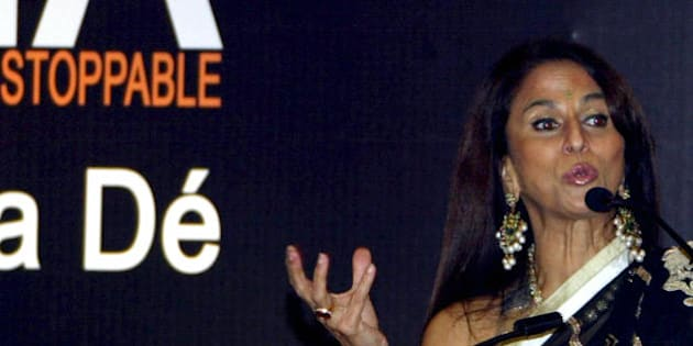 Indian author and critic Shobhaa De gestures during the launch of her book 'Superstar India - from Incredible to Unstoppable' in Hyderabad on June 16, 2008.  In the book De tells the story of modern India.   AFP PHOTO/Noah SEELAM (Photo credit should read NOAH SEELAM/AFP/Getty Images)