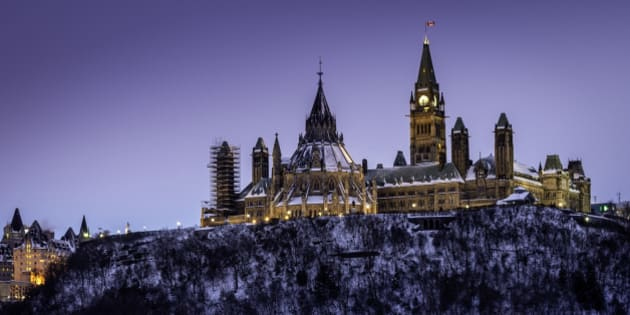 Parliament Hill in Ottawa, Canada. Seat of the Canadian Federal government.  Taken from the Quebec side of the Ottawa River.