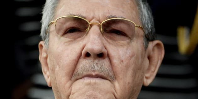 Cuban President Raul Castro listens to national anthems during the ALBA Summit at the Miraflores Palace, in Caracas on March 17, 2015. Leaders from leftist Latin American regional bloc ALBA gathered Tuesday for a summit in Caracas, a show of support for Venezuela in its mounting standoff with the United States. AFP PHOTO/FEDERICO PARRA        (Photo credit should read FEDERICO PARRA/AFP/Getty Images)