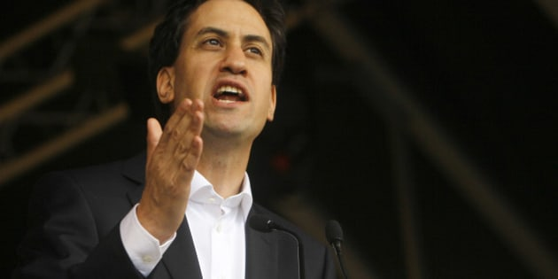 Leader of the British opposition Labour Party Ed Miliband speaks to demonstrators at a rally in Hyde Park as they take part in a protest march against government austerity measures through central London, Saturday, Oct. 20, 2012. Tens of thousands of demonstrators descended on the British capital Saturday in a noisy but peaceful protest at a government austerity drive aimed at slashing the nation's debt. (AP Photo/Alastair Grant)