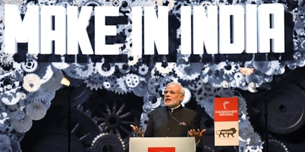Indian Prime Minister Narendra Modi speaks during the official opening of the Hannover Messe industrial trade fair in Hanover, central Germany on April 12, 2015. India is the partner country of this year's trade fair running from April 13 to 17, 2015. AFP PHOTO / TOBIAS SCHWARZ        (Photo credit should read TOBIAS SCHWARZ/AFP/Getty Images)