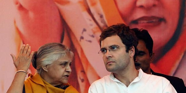 General Secretary of India's Congress Party Rahul Gandhi (R) speaks with Chief Minister of Delhi Sheila Dikshit (L) during a rally in New Delhi on November 26, 2008. Voting for Delhi's state assembly elections will be on November 29, 2008.  AFP PHOTO/ Prakash SINGH (Photo credit should read PRAKASH SINGH/AFP/Getty Images)