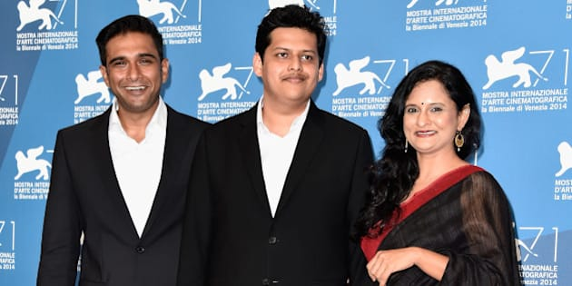 VENICE, ITALY - SEPTEMBER 04:  (L-R) Actor Vivek Gomber, director Chaitanya Tamhane and actress Geetanjali Kulkarni attend the 'Court' photocall during the 71st Venice Film Festival on September 4, 2014 in Venice, Italy.  (Photo by Pascal Le Segretain/Getty Images)