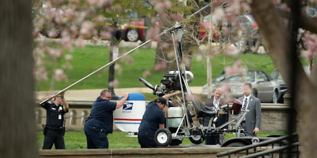 WASHINGTON, DC - APRIL 15:  A gyrocopter that illegally landed on the West Front of the U.S. Capitol is loaded onto a U.S. Capitol Police trailer April 15, 2015 in Washington, DC.  Doug Hughes, a 61-year-old postal worker from Ruskin, Florida, was quickly arrested after he landed the lightweight helicopter on the Capitol lawn to protest against government corruption and to promote campaign finance reform.  (Photo by Chip Somodevilla/Getty Images)