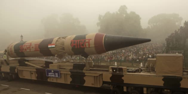The Indian Agni III missile is displayed during the Republic Day parade in New Delhi, India, Tuesday, Jan. 26, 2010. Paramilitary soldiers and police set up road blocks and snipers took positions atop government buildings as hundreds of thousands of people turned out to celebrate India's national day Tuesday. (AP Photo/Gurinder Osan)