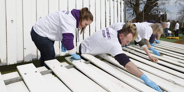 TENTERDEN, ENGLAND - MARCH 27: Club members and volunteers participate during the  NatWest CricketForce 2015 day at Tenterden Cricket Club on March 27, 2015 in Tenterden, England.  (Photo by Steve Bardens/Getty Images for ECB)