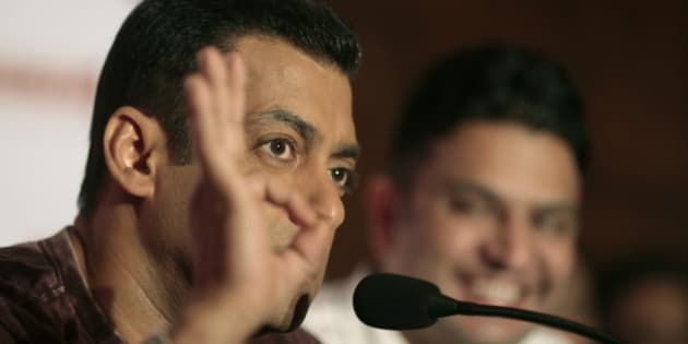 Bollywood actor Salman Khan interacts with the media ahead of the release of his new movie 'Ready' in New Delhi, India,Tuesday, May 31, 2011. (AP Photo/Saurabh Das)