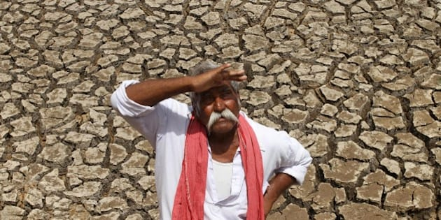An Indian farmer looks skyward as he stands on a dried bed of a water body on the outskirts of Ahmadabad, India, Tuesday, July 8, 2014. The western Indian state of Gujarat is facing a severe deficit in monsoon rain, according to news reports. (AP Photo/Ajit Solanki)