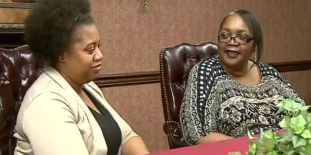 In this frame grab from video provided by WKBN-TV, La-Sonya Mitchell-Clark, left, sits next to her birth mother, Francine Simmons, during an interview, in Youngstown, Ohio. Mitchell-Clark's search for her birth mother yielded a surprising discovery, that they both work for the same company. (WKBN-TV via AP) MANDATORY CREDIT