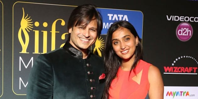 TAMPA, FL - APRIL 25:  (L-R) Vivek Oberoi and Priyanka Alva Oberoi arrive to the IIFA Magic of the Movies at MIDFLORIDA Credit Union Amphitheatre on April 25, 2014 in Tampa, Florida.  (Photo by Aaron Davidson/Getty Images)