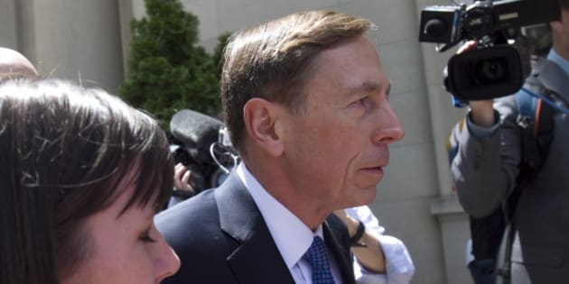 CHARLOTTE, NC  - APRIL 23:  Former director of CIA and former commander of U.S. Forces in Afghanistan Gen. David Petraeus enters the federal courthouse to face criminal sentencing on April 23, 2015 in Charlotte, North Carolina.   Petraeus is facing criminal sentencing for giving classified information to his former mistress and biographer.  (Photo by John W. Adkisson/Getty Images)