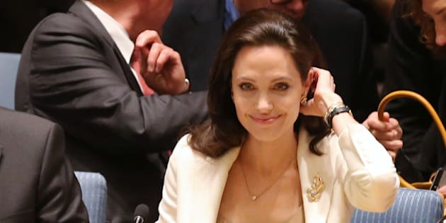 NEW YORK, NY - APRIL 24:  Actress/activist Angelina Jolie attends a United Nations Security Council Meeting on the situation in the Middle East And Syria at United Nations on April 24, 2015 in New York City.  (Photo by Jemal Countess/Getty Images)