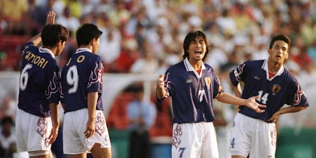21 Jul 1996: (L to R) Toshihiro Hattori, Shoji Jo, team captain Masakiyo Maezono and Hidetoshi Nakata of Japan during the match against Brazil at the Orange Bowl Stadium Miami in the 1996 Centennial Olympic Games. Japan beat Brazil 1-0. Mandatory Credit: Clive Brunskill  /Allsport