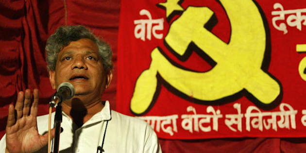 Communist Party of India Marxist (CPI-M) leader Sitaram Yechury addresses a public meeting in favour of party candidate Jibesh Sarkar for the Darjeeling constituency in Siliguri on April 20, 2009. India holds its 15th parliamentary general elections in five phases on April 16, April 23, April 30, May 7 and May 13 and the new Parliament will be constituted before June 2, 2009.  AFP PHOTO/ Diptendu DUTTA. (Photo credit should read DIPTENDU DUTTA/AFP/Getty Images)