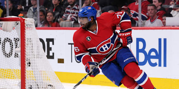 MONTREAL, QC - APRIL 17:  P.K. Subban #76 of the Montreal Canadiens skates with the puck during Game Two of the Eastern Conference Quarterfinals  of the 2015 NHL Stanley Cup Playoffs at the Bell Centre on April 17, 2015 in Montreal, Quebec, Canada.  The Canadiens defeated the Senators 3-2 in overtime.  (Photo by Richard Wolowicz/Getty Images)