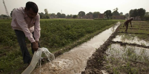 Indian farmer Jagdish Patel irrigates his field on the outskirts of Allahabad, India, Thursday, April 23, 2015.Almost three quarters of Indians still live in villages, and farm income is crucial to the country's economy. Unseasonal rain and hailstorms in March destroyed large areas of farmland in northern and western India, leading dozens of debt-ridden farmers to kill themselves.(AP Photo/Rajesh Kumar Singh)