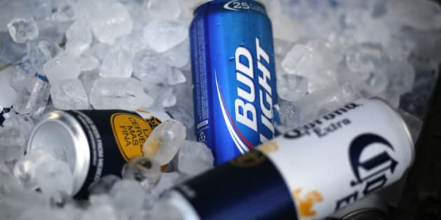This is Bud Light beer for sale at a concession stand at McKechnie Field during a spring training exhibition baseball game between the Pittsburgh Pirates and the New York Yankees in Bradenton, Fla., Thursday, March 5, 2015.  (AP Photo/Gene J. Puskar)