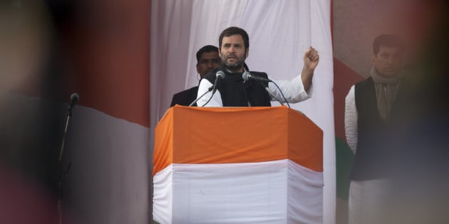 India's opposition Congress party Vice President Rahul Gandhi addresses an election campaign rally ahead of Delhi state election in New Delhi, India, Wednesday, Feb. 4, 2015. Delhi goes to the polls on Feb. 7. (AP Photo/Tsering Topgyal)