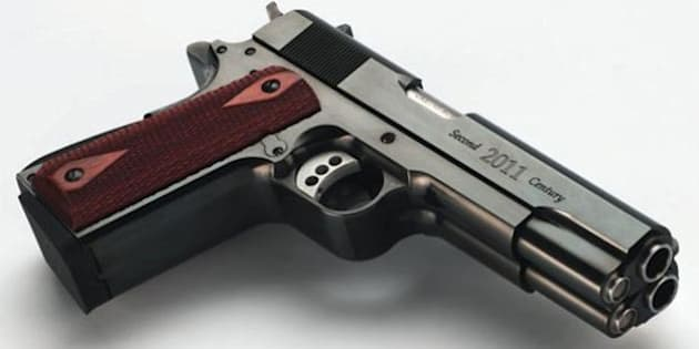 Made by Arsenal Firearms, this double barrel semi-automatic pistol shoots two .45 cal rounds side by side.  Shown is the Second Century model.