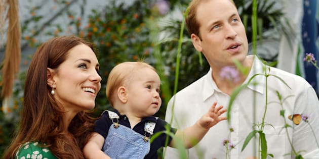 FILE - This photo taken Wednesday, July 2, 2014, and released Monday, July 21, 2014, to mark Prince George's first birthday, shows Britain's Prince William and Kate Duchess of Cambridge and the Prince during a visit to the Sensational Butterflies exhibition at the Natural History Museum, London. The Duchess of Cambridge, wife of Prince William, is expecting her second child and was being treated for severe morning sickness, royal officials said Monday, Sept. 8, 2014.  (AP Photo/John Stillwell, Pool)