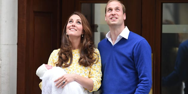 Photo by: KGC-03/STAR MAX/IPx 5/2/15 The Princess of Cambridge is seen outside the Lindo Wing of St. Mary's Hospital with her parents Prince William The Duke of Cambridge and Catherine The Duchess of Cambridge.  The Princess was born on Saturday, May 2nd, 2015 at 8:34 AM weighing 8lbs. 3oz. (London, England, UK)