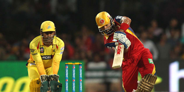 Royal Challengers Bangalore captain Virat Kohli drives a delivery during match 20 of the Pepsi IPL 2015 (Indian Premier League) between The Royal Challengers Bangalore and The Chennai Superkings held at the M. Chinnaswamy Stadium in Bengaluru, India on the 22nd April 2015.  Photo by:  Shaun Roy / SPORTZPICS / IPL