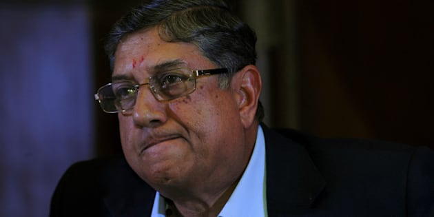 President of the Board of Control for Cricket in India (BCCI), N. Srinivasan addresses a press conference in Kolkata on May 26, 2013.   Indian police have arrested the son-in-law of the country's cricket chief in a spot-fixing probe as the government announced Saturday a new law to crack down on cheating in sport.  AFP PHOTO        (Photo credit should read STR/AFP/Getty Images)