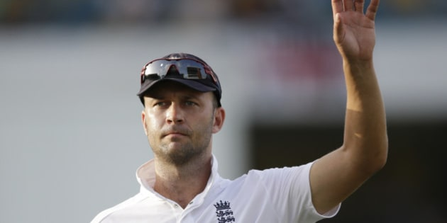 England's Jonathan Trott  asks for the ball from spectators after West Indies' Darren Bravo hit a six during day three of their third Test match at the Kensington Oval in Bridgetown, Barbados, Sunday, May 3, 2015.  (AP Photo/Ricardo Mazalan)
