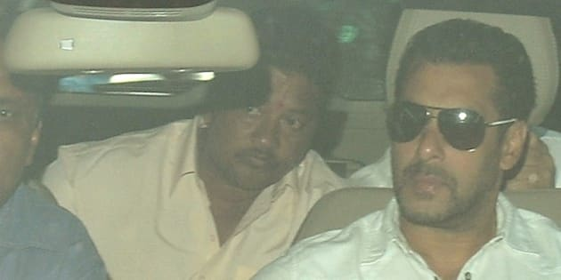 Indian Bollywood film actor Salman Khan (R) arrives in a car to appear at the sessions court in Mumbai on May 6, 2015. An Indian judge convicted Bollywood superstar Salman Khan of killing a homeless man in a 2002 hit-and-run after a night out drinking, rejecting his claim that his driver was to blame. AFP PHOTO/PUNIT PARANJPE        (Photo credit should read PUNIT PARANJPE/AFP/Getty Images)