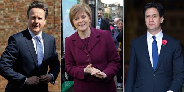 A combination picture shows (L-R) UK Independence Party leader Nigel Farage, British Prime Minister and leader of the Conservatives David Cameron, Scottish National Party leader Nicola Sturgeon, Opposition Labour leader Ed Miliband and Deputy Prime Minister and leader of the Liberal Democrats Nick Clegg campaigning in the run up to the UK elections. Britain's political leaders launched their last day of campaigning on May 6, 2015 for the most unpredictable election in living memory which could yield no clear winner and weeks of haggling over the next government. AFP PHOTO        (Photo credit should read -/AFP/Getty Images)