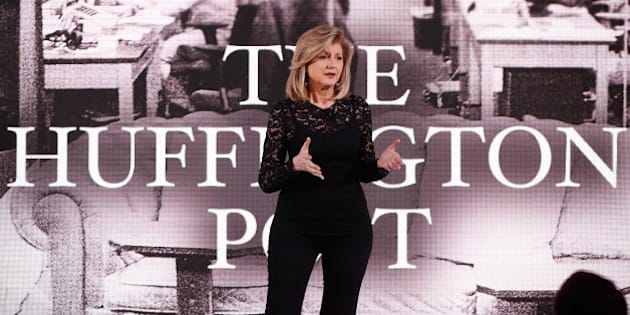 NEW YORK, NY - APRIL 28:  Co-founder and editor-in-chief of The Huffington Post Arianna Huffington speaks on stage during the AOL 2015 Newfront on April 28, 2015 in New York City.  (Photo by Brian Ach/Getty Images for AOL)