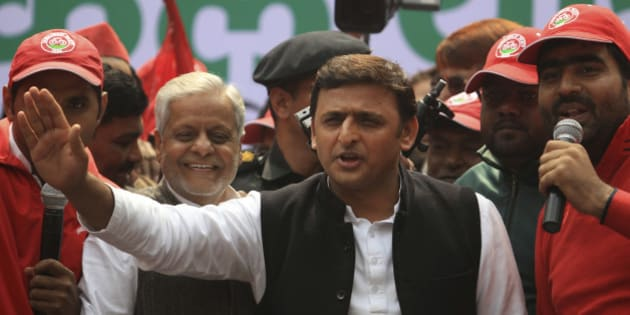 Uttar Pradesh state Chief Minister Akhilesh Yadav addresses supporters of Samajwadi Party before they embark on a bicycle rally in New Delhi, India, Sunday, Feb. 23, 2014. As part of the party's campaign for the upcoming general elections, hundreds of party workers on bicycles, the party's symbol, Sunday began a rally to Lucknow, the capital of Uttar Pradesh state. (AP Photo/Tsering Topgyal)