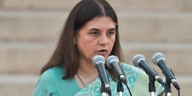 In this photograph taken on May 26, 2014, Bharatiya Janata Party (BJP) leader Maneka Gandhi takes the oath of office during a swearing-in ceremony for new Indian Prime Minister Narendra Modi and his council of ministers in New Delhi. India's Prime Minister Narendra Modi was expected to hold landmark talks with his Pakistani counterpart and announce his new cabinet May 27 as he looked to hit the ground running on his first day in office. AFP PHOTO/Prakash SINGH        (Photo credit should read PRAKASH SINGH/AFP/Getty Images)